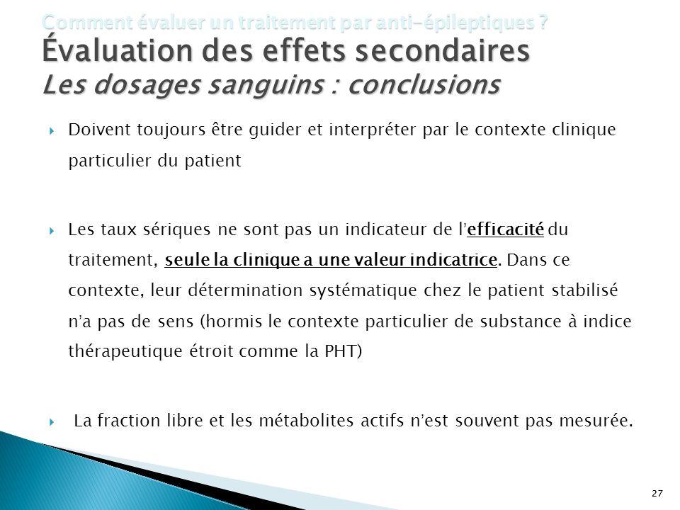 Les dosages sanguins : conclusions