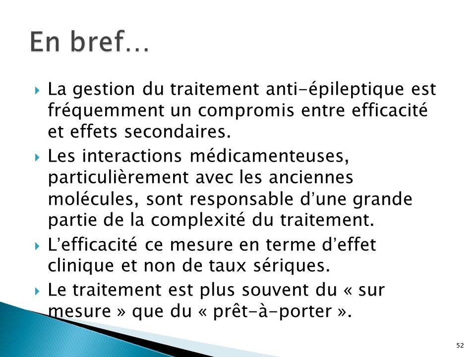 En bref… La gestion du traitement anti-épileptique est fréquemment un compromis entre efficacité et effets secondaires.