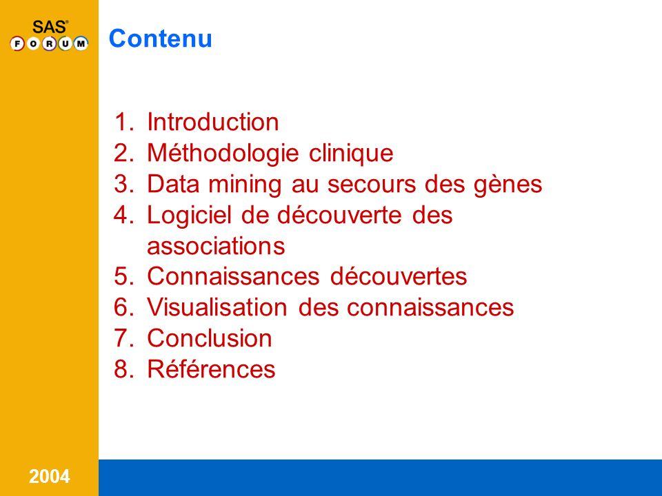 Contenu Introduction. Méthodologie clinique. Data mining au secours des gènes. Logiciel de découverte des associations.