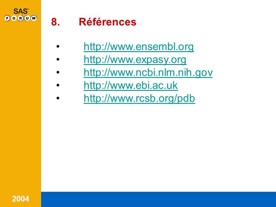 8. Références http://www.ensembl.org. http://www.expasy.org. http://www.ncbi.nlm.nih.gov. http://www.ebi.ac.uk.