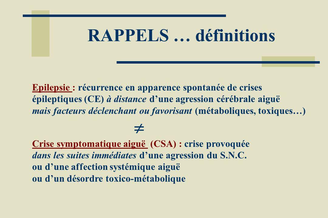 RAPPELS … définitions Epilepsie : récurrence en apparence spontanée de crises épileptiques (CE) à distance d'une agression cérébrale aiguë.
