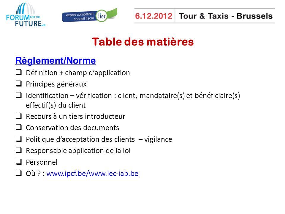 Table des matières Règlement/Norme Définition + champ d'application