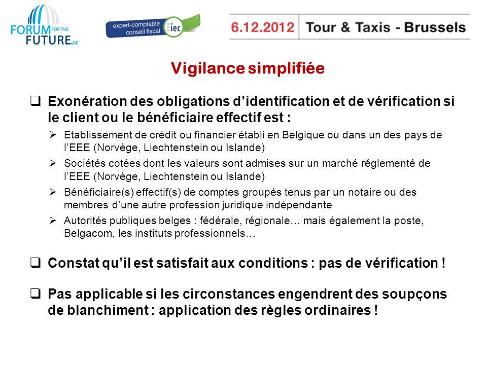 Vigilance simplifiée Exonération des obligations d'identification et de vérification si le client ou le bénéficiaire effectif est :