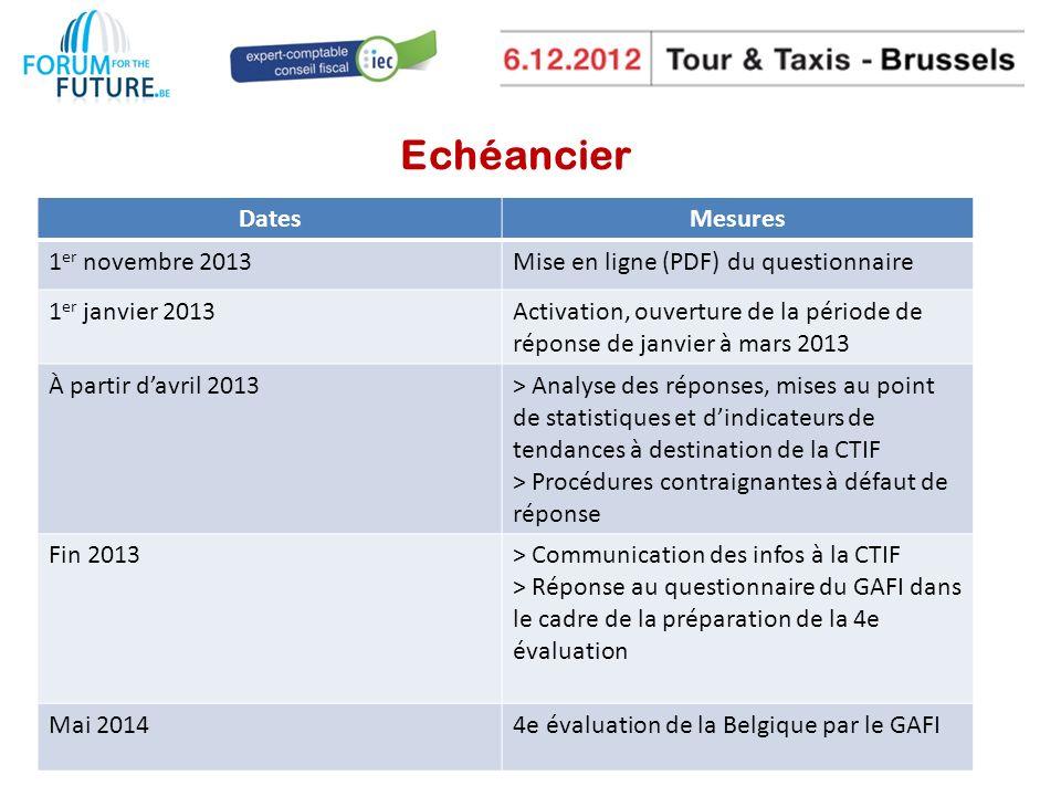 Echéancier Dates Mesures 1er novembre 2013