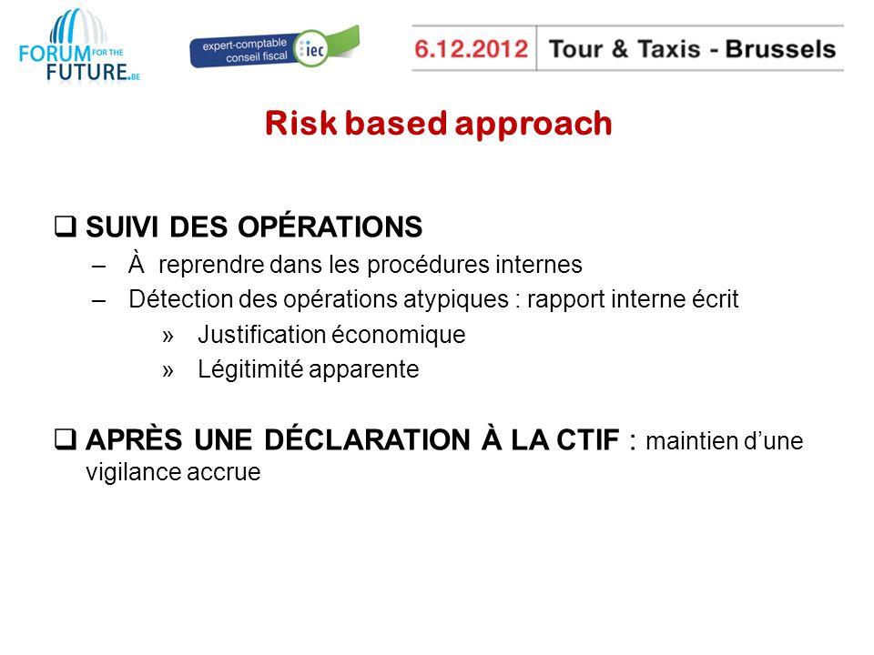 Risk based approach SUIVI DES OPÉRATIONS