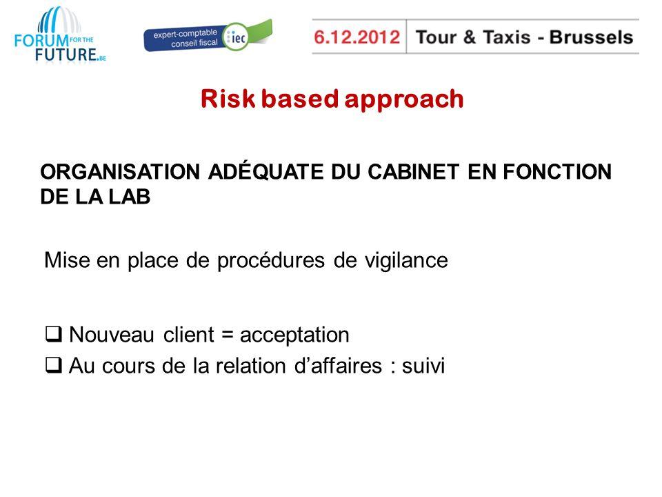 Risk based approach Mise en place de procédures de vigilance