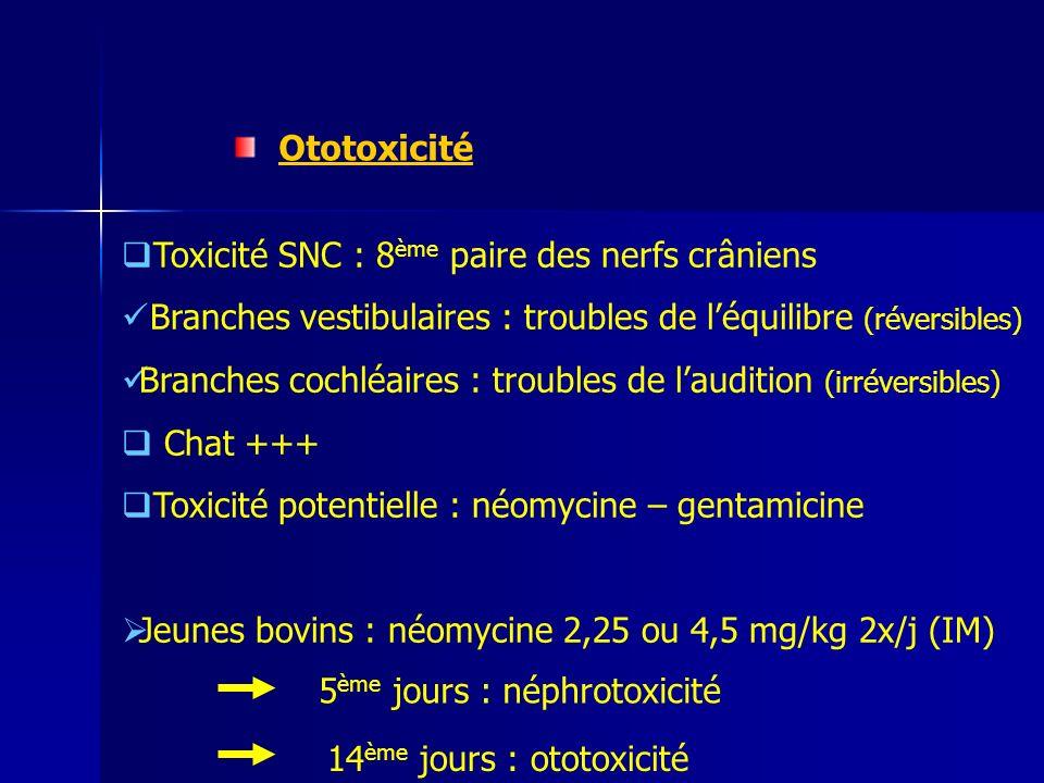 Ototoxicité Toxicité SNC : 8ème paire des nerfs crâniens. Branches vestibulaires : troubles de l'équilibre (réversibles)