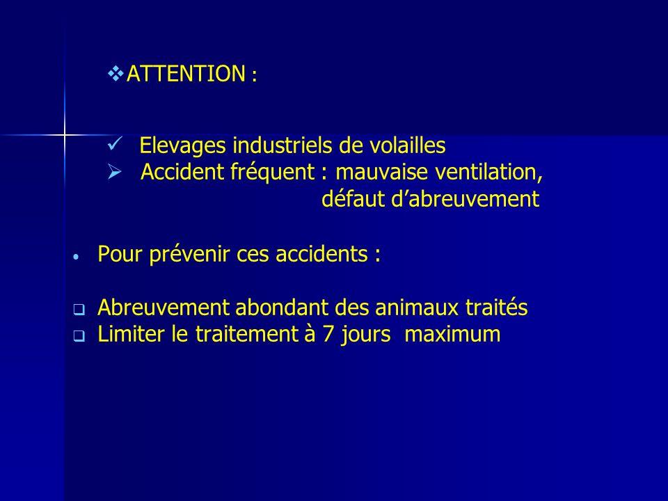 ATTENTION : Elevages industriels de volailles. Accident fréquent : mauvaise ventilation, défaut d'abreuvement.