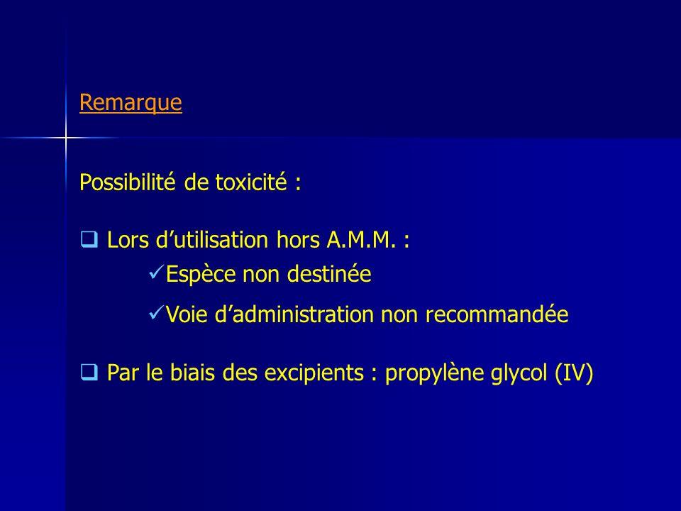 Remarque Possibilité de toxicité : Lors d'utilisation hors A.M.M. : Espèce non destinée. Voie d'administration non recommandée.