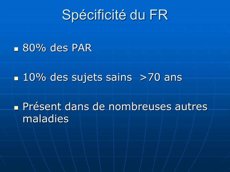 Spécificité du FR 80% des PAR 10% des sujets sains >70 ans