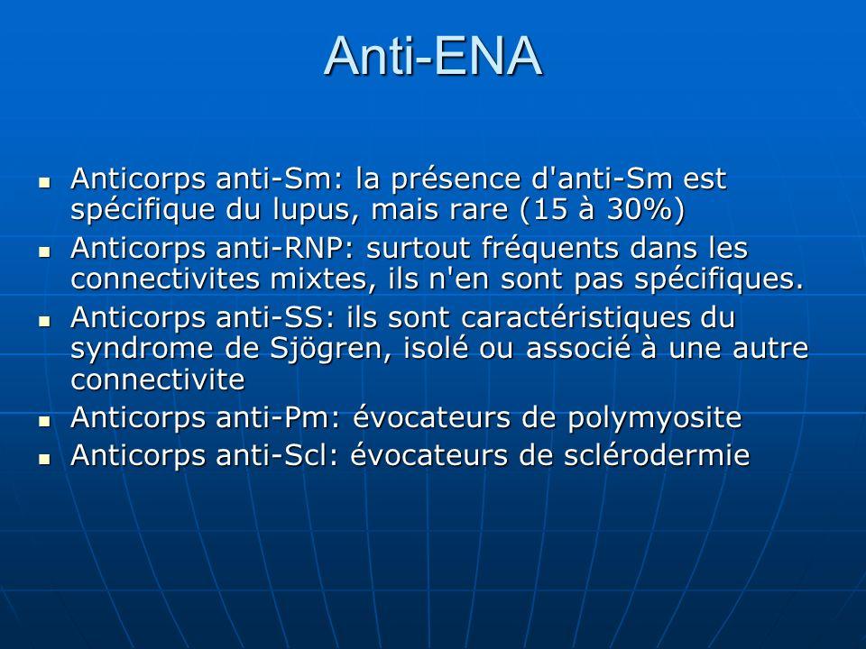Anti-ENA Anticorps anti-Sm: la présence d anti-Sm est spécifique du lupus, mais rare (15 à 30%)