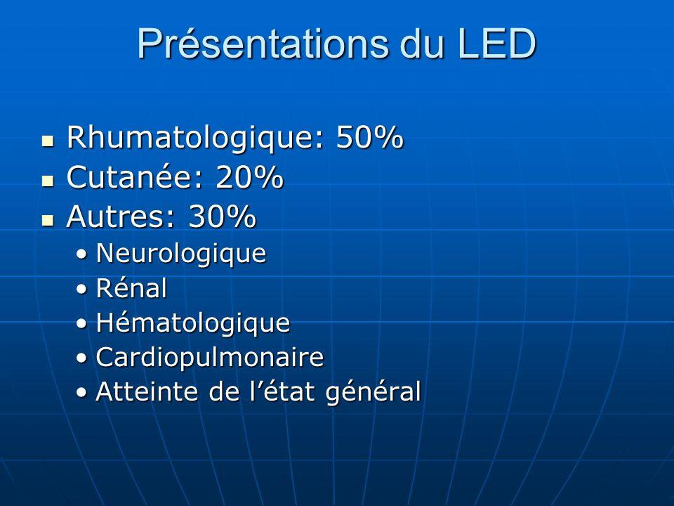 Présentations du LED Rhumatologique: 50% Cutanée: 20% Autres: 30%
