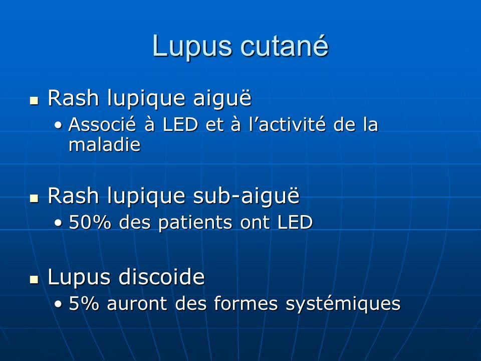 Lupus cutané Rash lupique aiguë Rash lupique sub-aiguë Lupus discoide