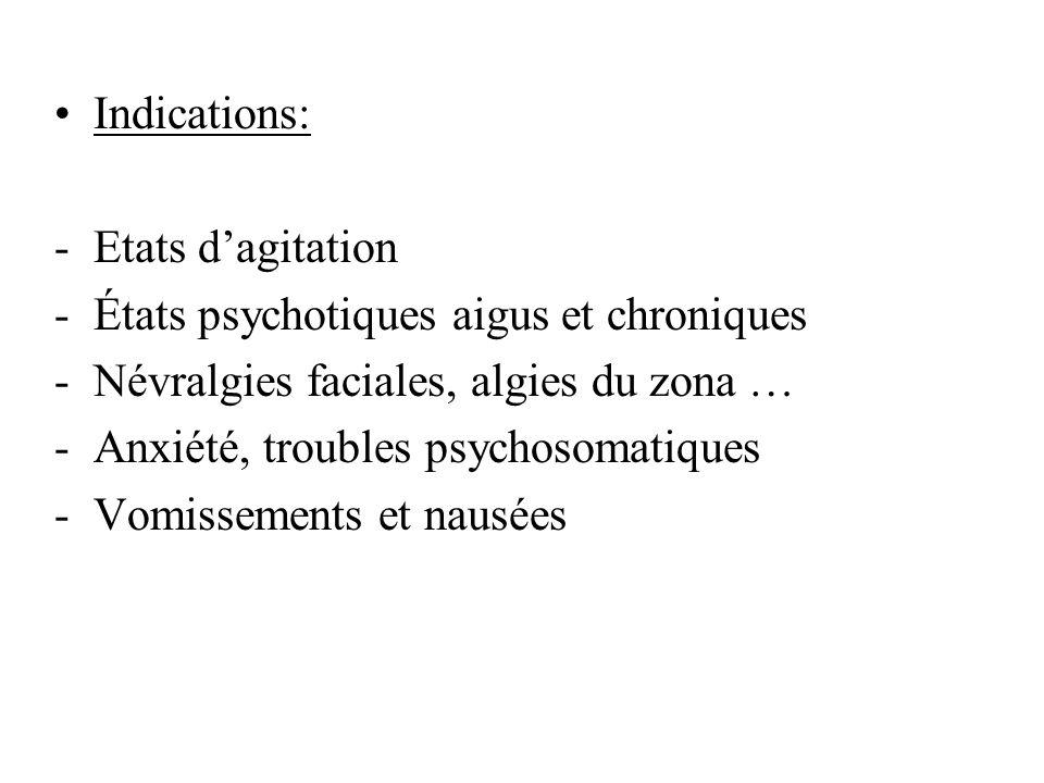 Indications: Etats d'agitation. États psychotiques aigus et chroniques. Névralgies faciales, algies du zona …