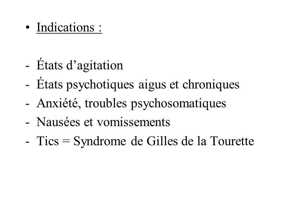 Indications : États d'agitation. États psychotiques aigus et chroniques. Anxiété, troubles psychosomatiques.