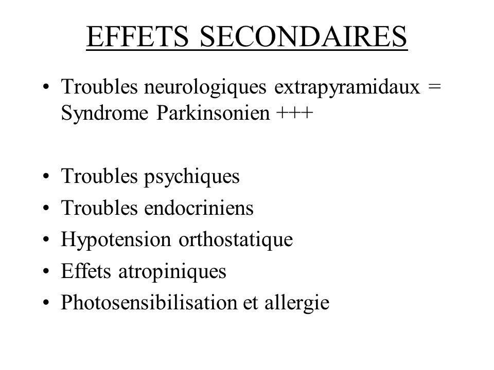 EFFETS SECONDAIRES Troubles neurologiques extrapyramidaux = Syndrome Parkinsonien +++ Troubles psychiques.