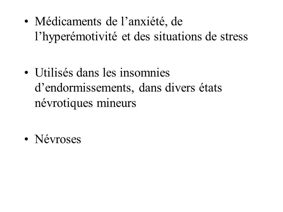 Médicaments de l'anxiété, de l'hyperémotivité et des situations de stress