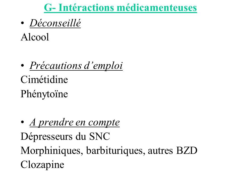 G- Intéractions médicamenteuses