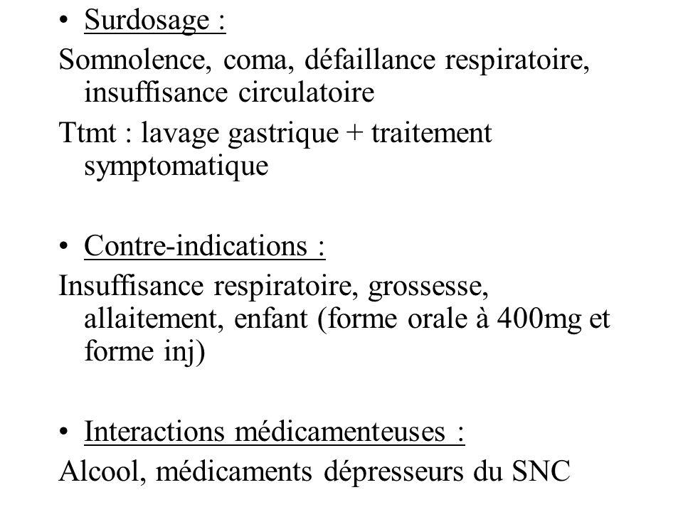 Surdosage : Somnolence, coma, défaillance respiratoire, insuffisance circulatoire. Ttmt : lavage gastrique + traitement symptomatique.