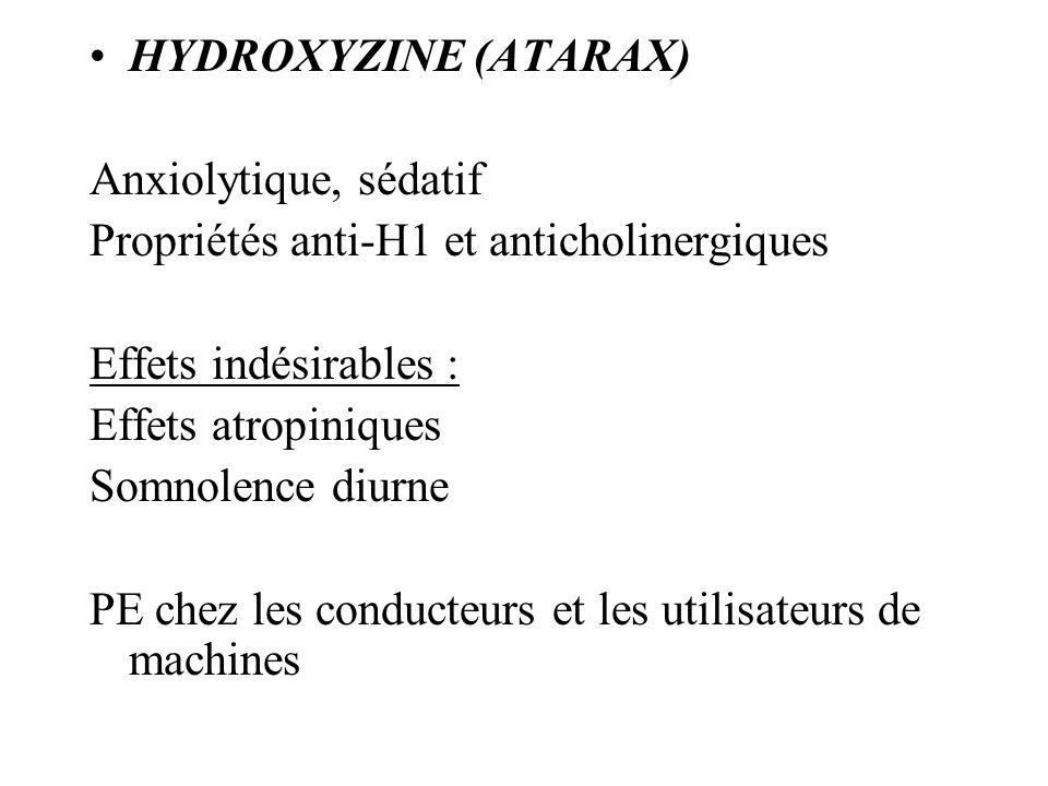 HYDROXYZINE (ATARAX) Anxiolytique, sédatif. Propriétés anti-H1 et anticholinergiques. Effets indésirables :