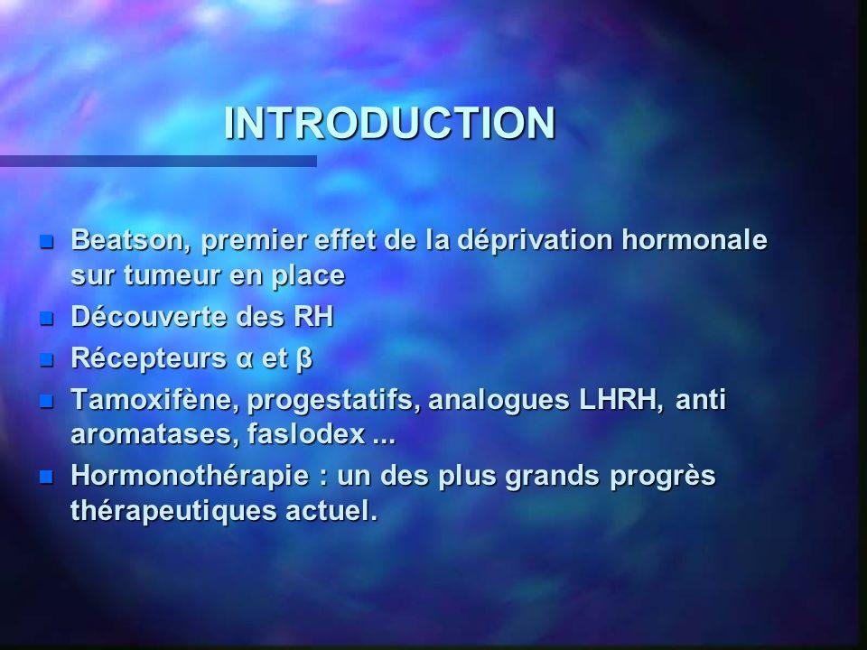INTRODUCTION Beatson, premier effet de la déprivation hormonale sur tumeur en place. Découverte des RH.