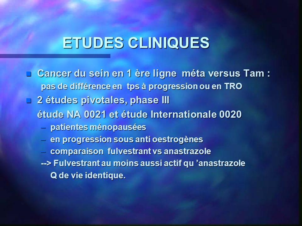 ETUDES CLINIQUES Cancer du sein en 1 ère ligne méta versus Tam :