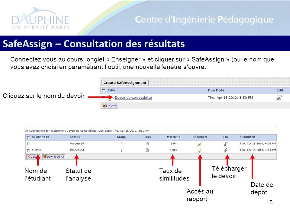 SafeAssign – Consultation des résultats