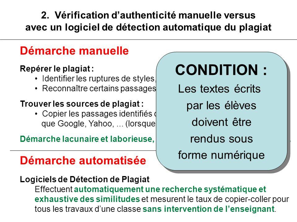 CONDITION : Démarche manuelle Les textes écrits par les élèves