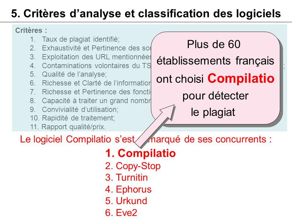 5. Critères d'analyse et classification des logiciels