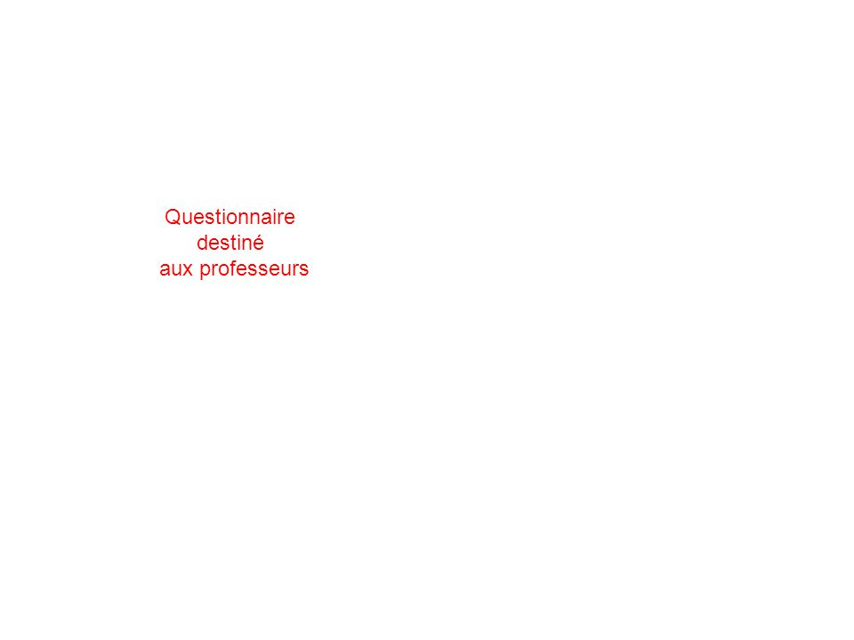 Questionnaire destiné aux professeurs