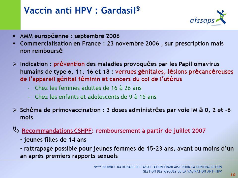 Vaccin anti HPV : Gardasil®