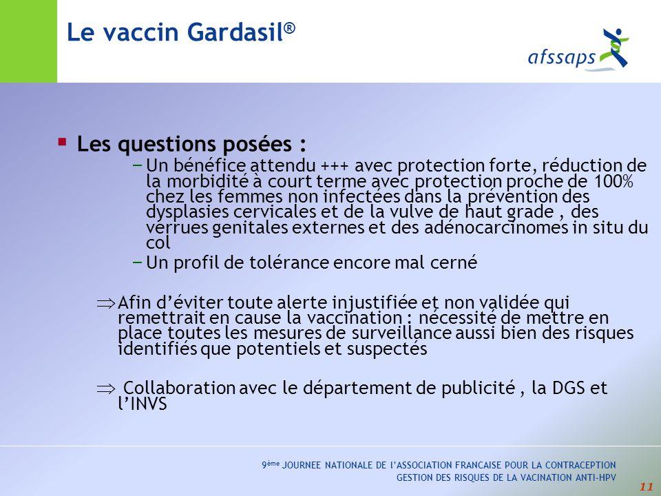 Le vaccin Gardasil® Les questions posées :