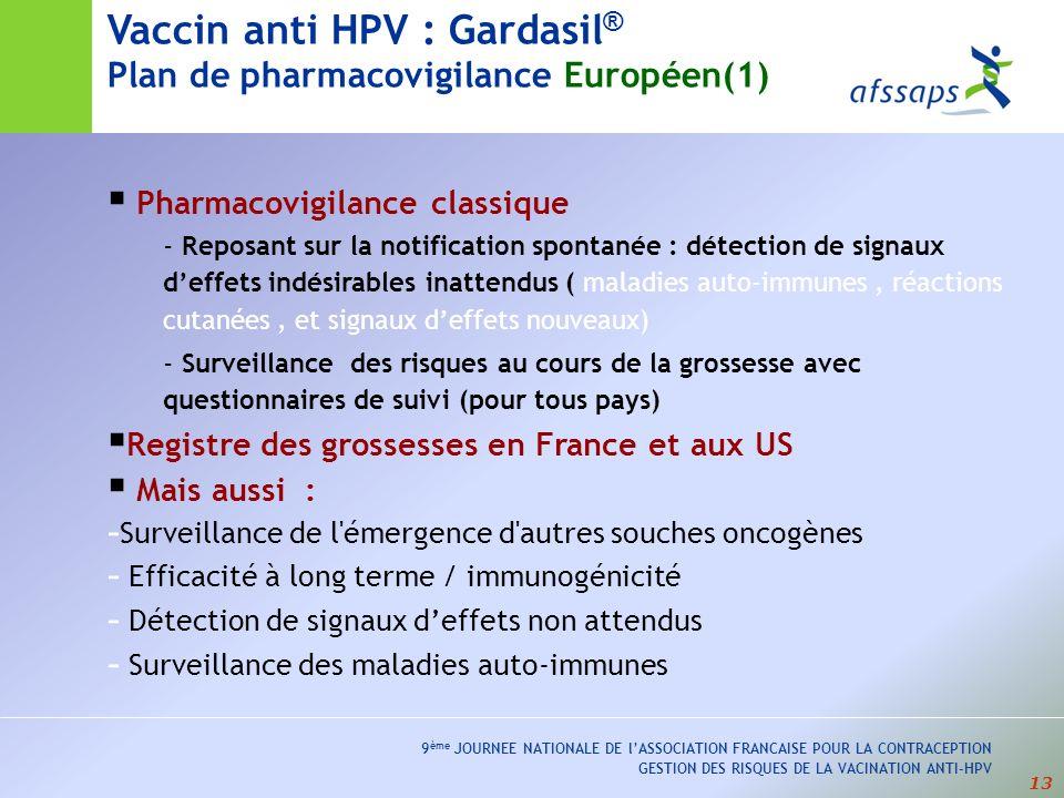 Vaccin anti HPV : Gardasil® Plan de pharmacovigilance Européen(1)