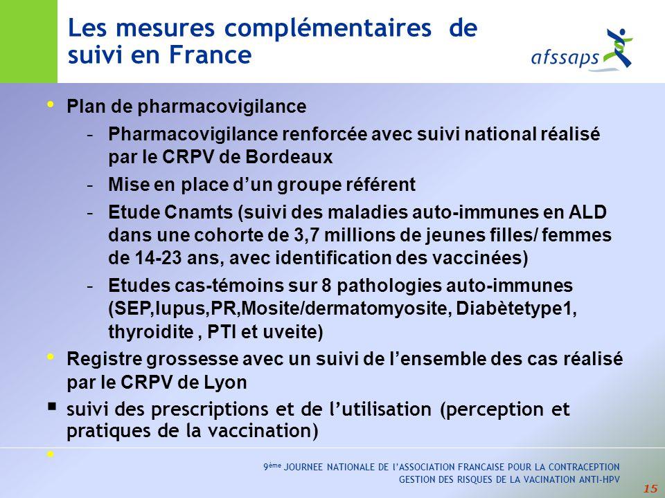 Les mesures complémentaires de suivi en France