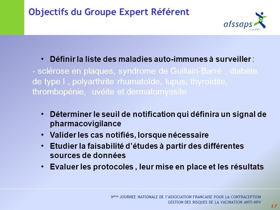 Objectifs du Groupe Expert Référent