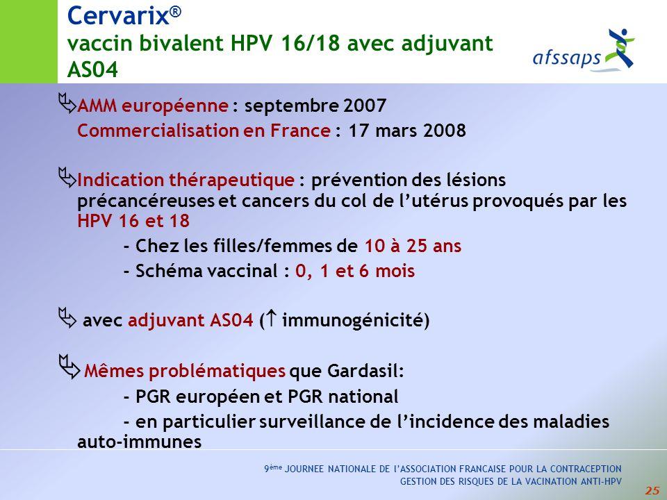 Cervarix® vaccin bivalent HPV 16/18 avec adjuvant AS04