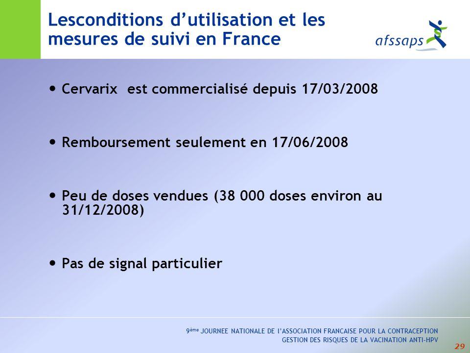Lesconditions d'utilisation et les mesures de suivi en France