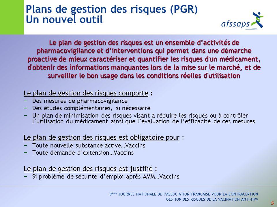 Plans de gestion des risques (PGR) Un nouvel outil