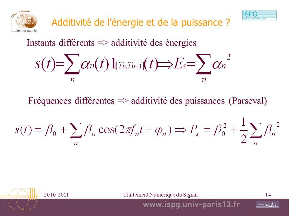 Additivité de l'énergie et de la puissance