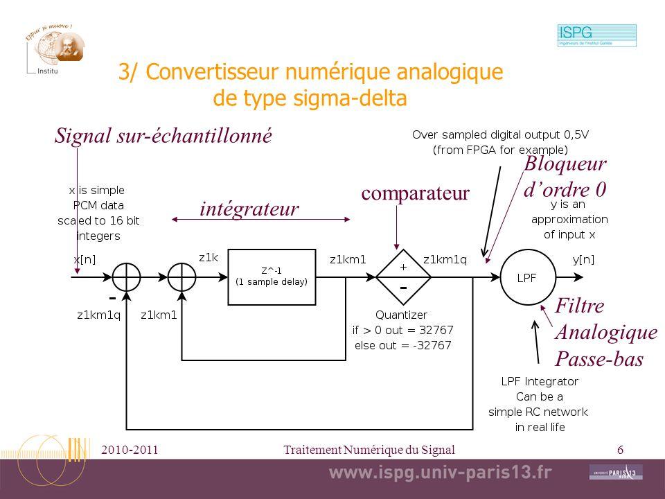 3/ Convertisseur numérique analogique de type sigma-delta