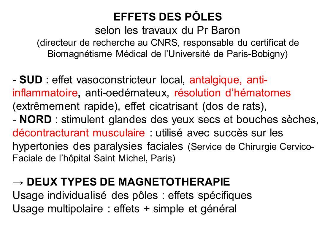 EFFETS DES PÔLES selon les travaux du Pr Baron (directeur de recherche au CNRS, responsable du certificat de Biomagnétisme Médical de l'Université de Paris-Bobigny)