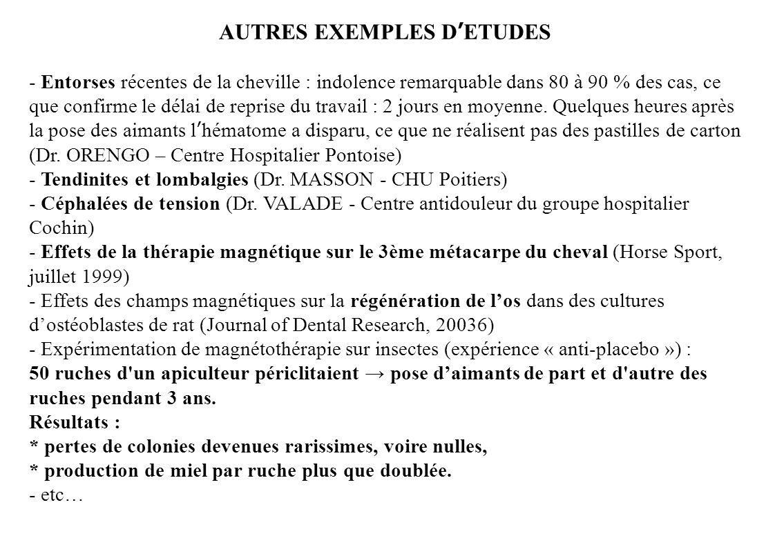 AUTRES EXEMPLES D'ETUDES