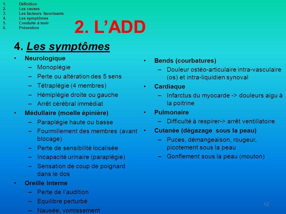 2. L'ADD 4. Les symptômes Neurologique Bends (courbatures) Monoplégie