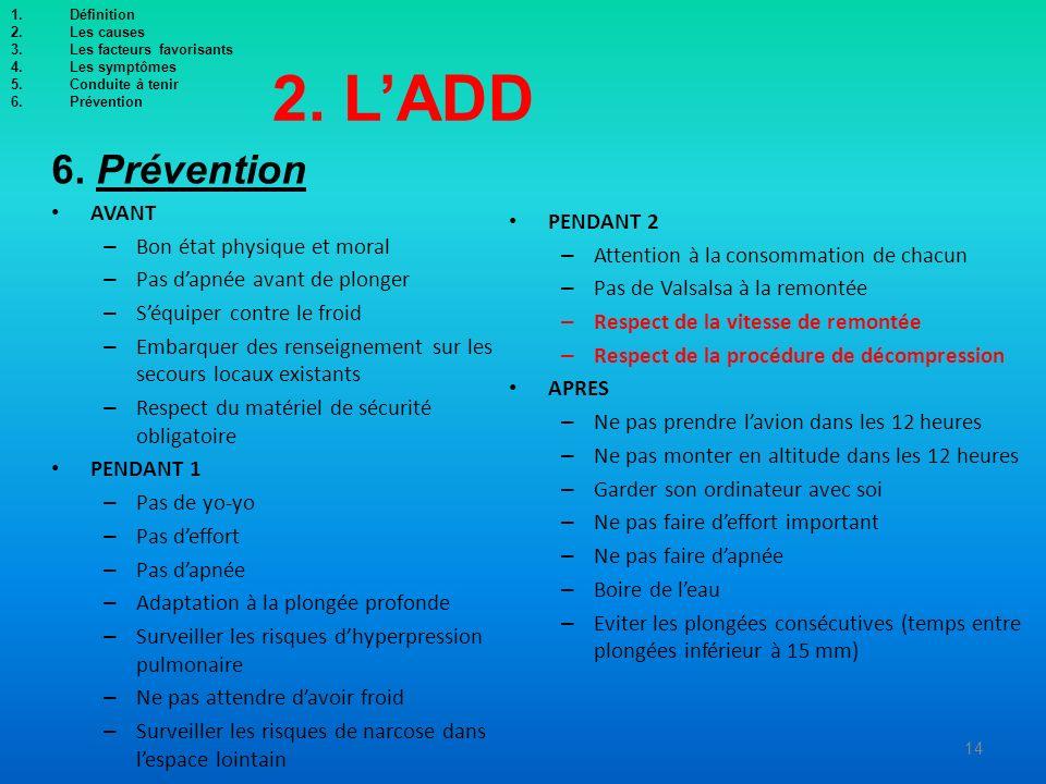 2. L'ADD 6. Prévention AVANT PENDANT 2 Bon état physique et moral