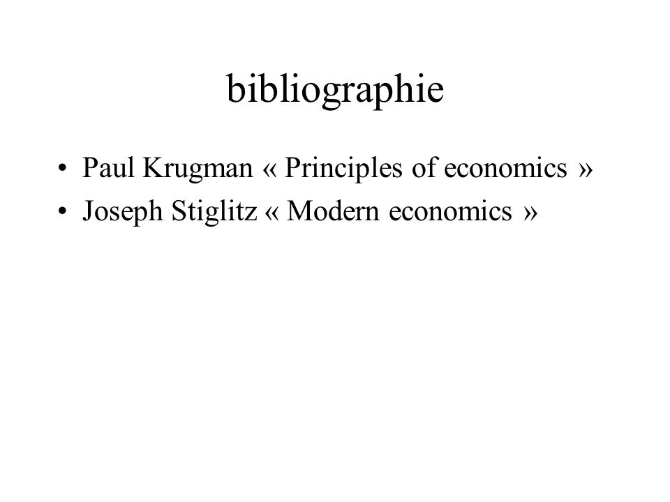bibliographie Paul Krugman « Principles of economics »