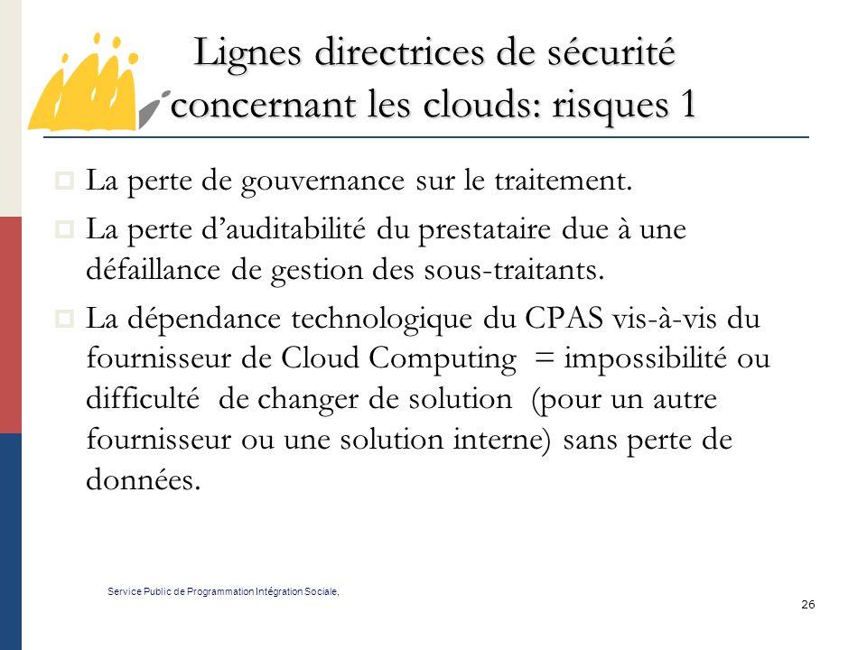 Lignes directrices de sécurité concernant les clouds: risques 1