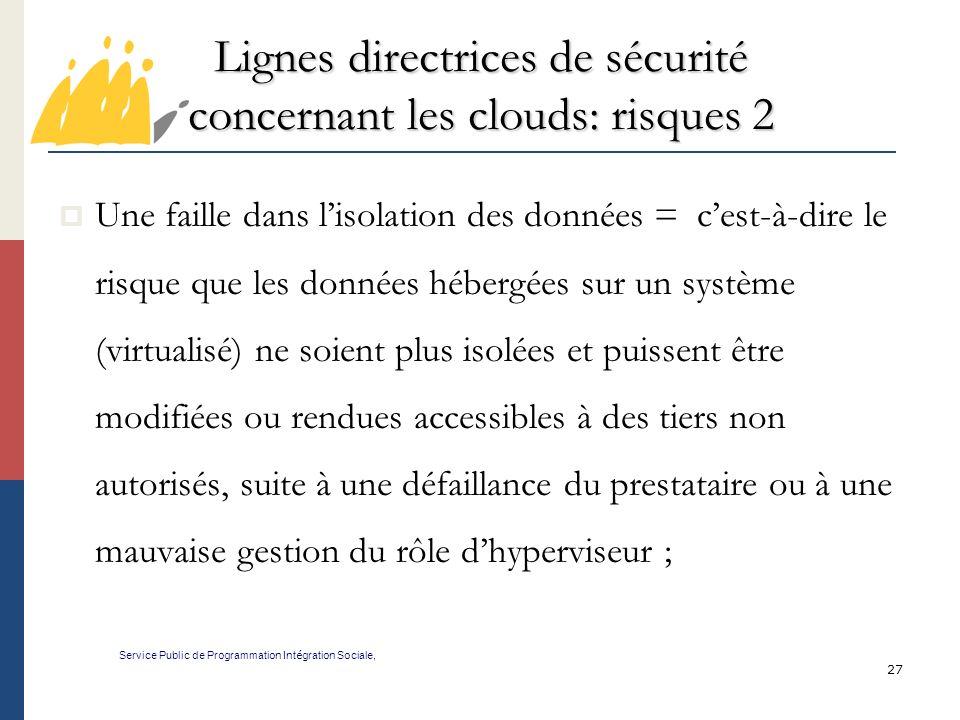 Lignes directrices de sécurité concernant les clouds: risques 2
