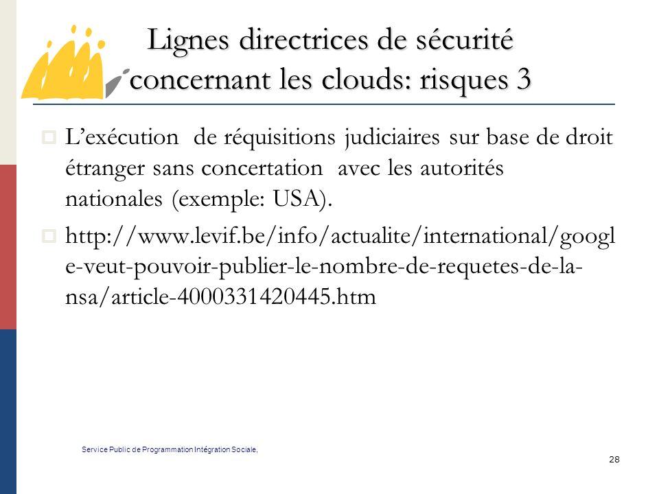 Lignes directrices de sécurité concernant les clouds: risques 3