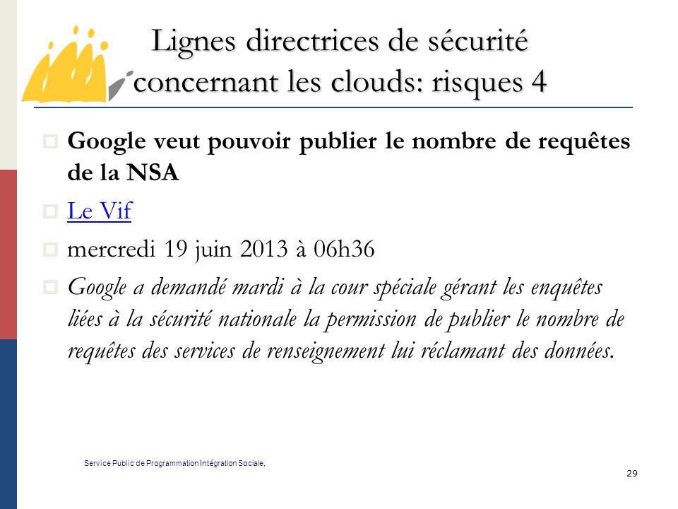 Lignes directrices de sécurité concernant les clouds: risques 4