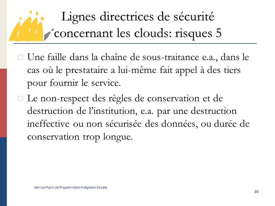 Lignes directrices de sécurité concernant les clouds: risques 5